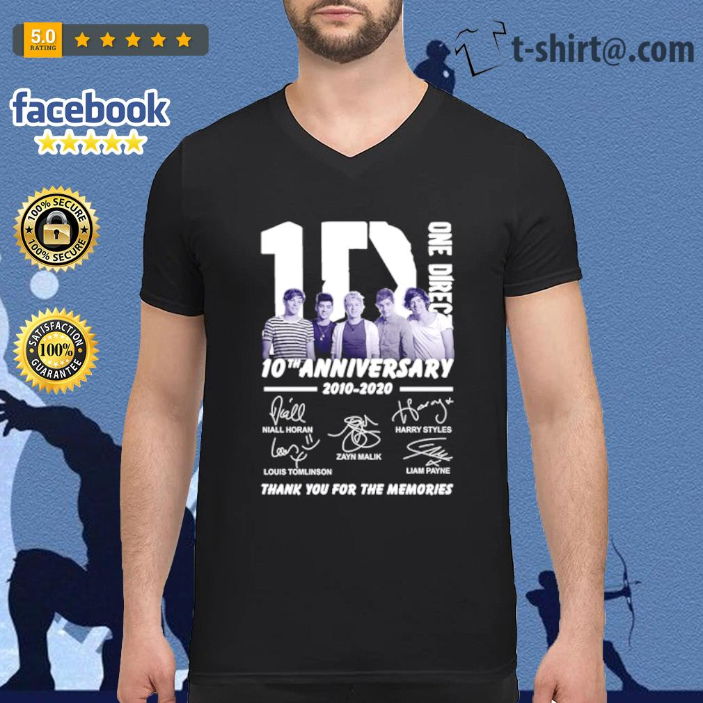 1D One Direction 10th anniversary 2010-2020 thank you for the memories s v-neck-t-shirt