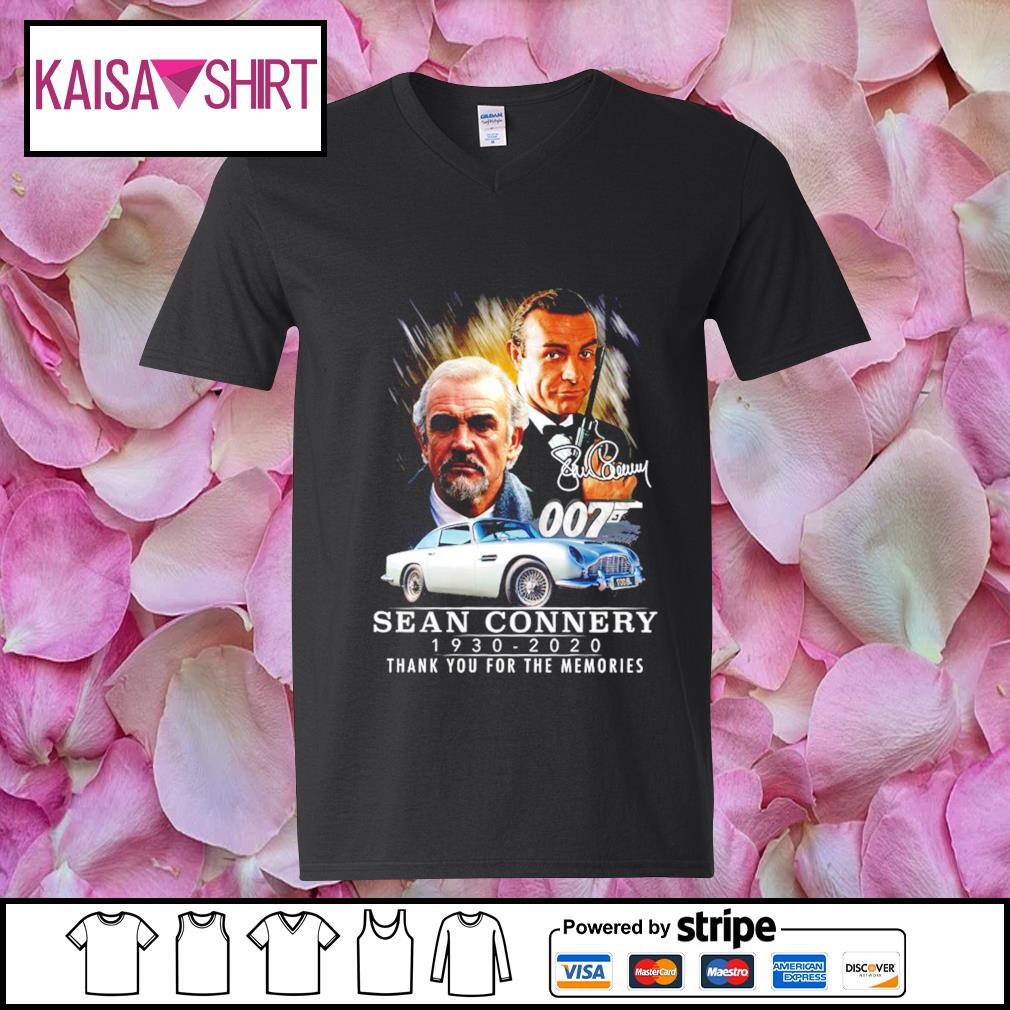 007 Sean Connery signature 1930-2020 thank you for the memories s v-neck t-shirt