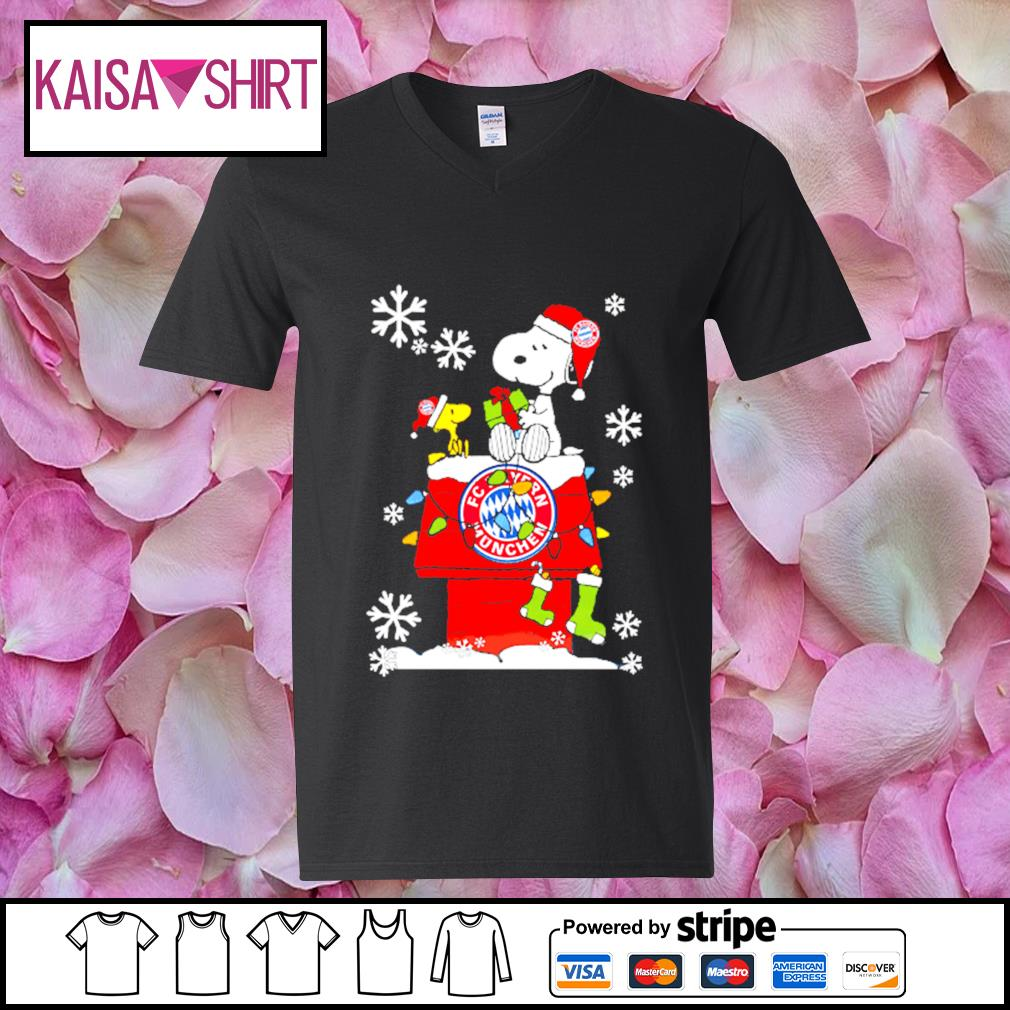 FC Bayern München snoopy and woodstock Christmas shirt, sweater v-neck t-shirt