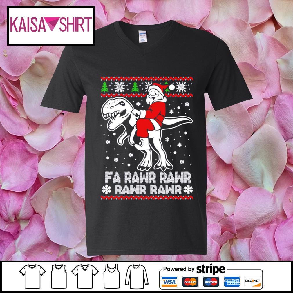 Santa Claus riding T-rex fa rawr rawr ugly Christmas s v-neck t-shirt