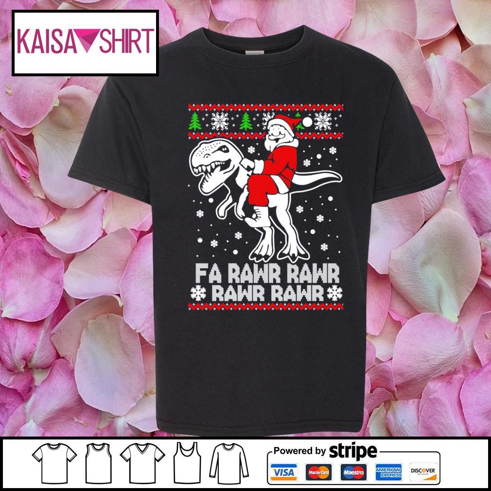 Santa Claus riding T-rex fa rawr rawr ugly Christmas s youth-shirt